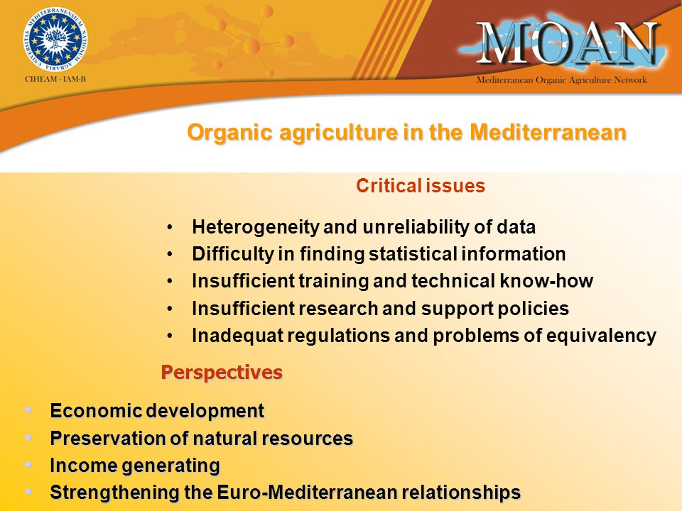 Organic agriculture in the Mediterranean * various sources.