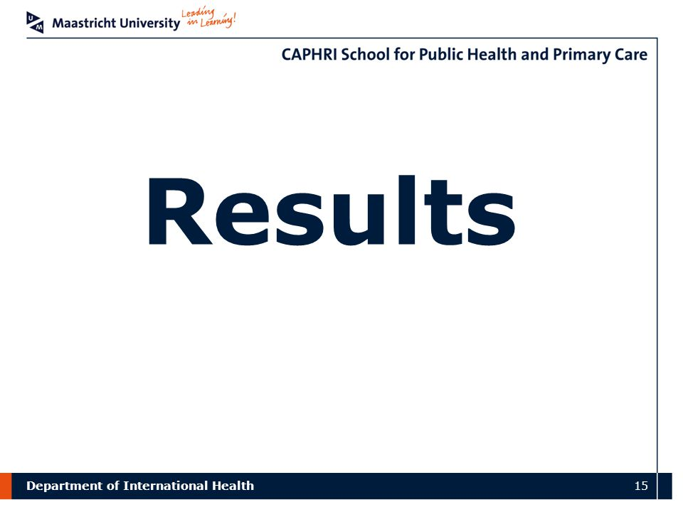 Department of International Health 15 Results
