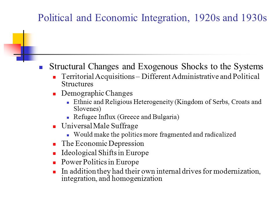 Political and Economic Integration, 1920s and 1930s Structural Changes and Exogenous Shocks to the Systems Territorial Acquisitions – Different Administrative and Political Structures Demographic Changes Ethnic and Religious Heterogeneity (Kingdom of Serbs, Croats and Slovenes) Refugee Influx (Greece and Bulgaria) Universal Male Suffrage Would make the politics more fragmented and radicalized The Economic Depression Ideological Shifts in Europe Power Politics in Europe In addition they had their own internal drives for modernization, integration, and homogenization