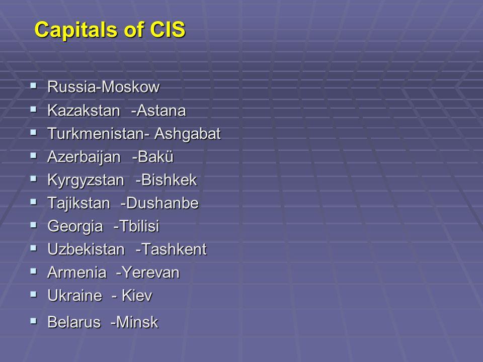 Capitals of CIS Capitals of CIS  Russia-Moskow  Kazakstan -Astana  Turkmenistan- Ashgabat  Azerbaijan -Bakü  Kyrgyzstan -Bishkek  Tajikstan -Dushanbe  Georgia -Tbilisi  Uzbekistan -Tashkent  Armenia -Yerevan  Ukraine - Kiev  Belarus -Minsk