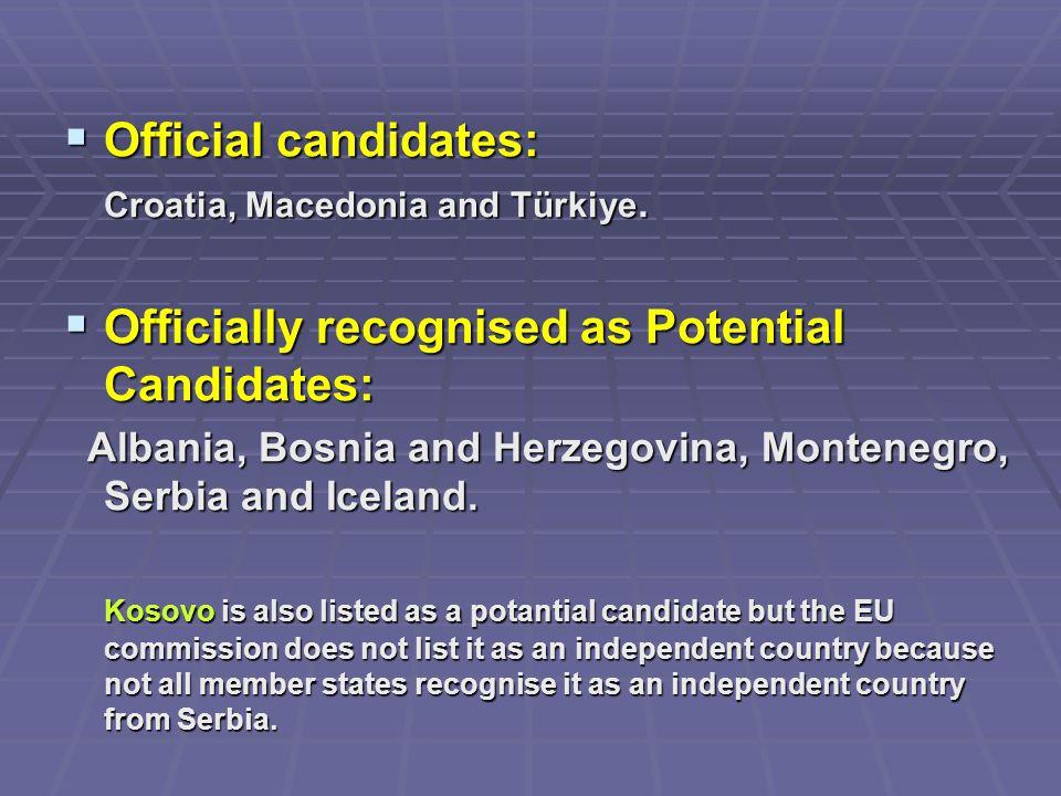  Official candidates: Croatia, Macedonia and Türkiye.