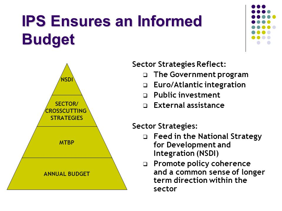 IPS Ensures an Informed Budget Sector Strategies Reflect:  The Government program  Euro/Atlantic integration  Public investment  External assistance Sector Strategies:  Feed in the National Strategy for Development and Integration (NSDI)  Promote policy coherence and a common sense of longer term direction within the sector NSDI SECTOR/ CROSSCUTTING STRATEGIES MTBP ANNUAL BUDGET