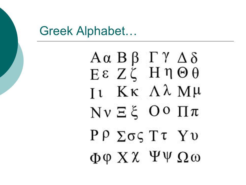 Greek Alphabet…