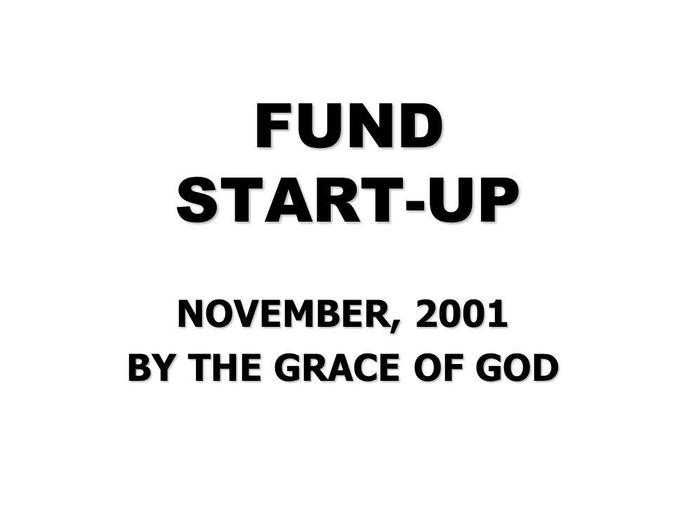 FUND START-UP NOVEMBER, 2001 BY THE GRACE OF GOD