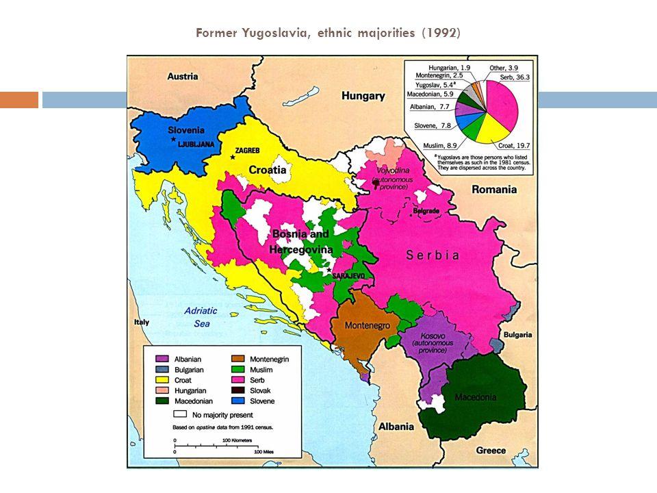 Former Yugoslavia, ethnic majorities (1992)