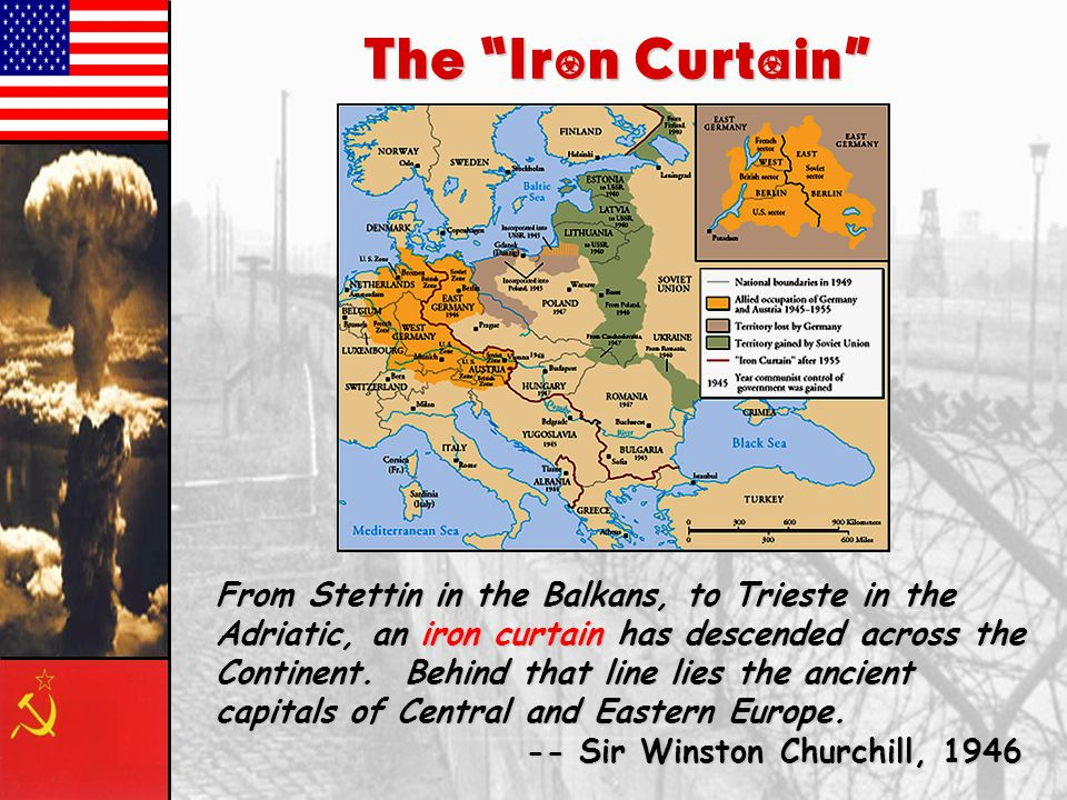 The Iron Curtain From Stettin in the Balkans, to Trieste in the Adriatic, an iron curtain has descended across the Continent.
