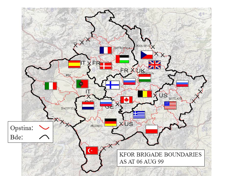 . PRISTINA DACOVICA.. PEC. PODUJEVO. MITROVICA PRIZREN.. GNJILANE KFOR BRIGADE BOUNDARIES AS AT 06 AUG 99 Opstina : Bde :