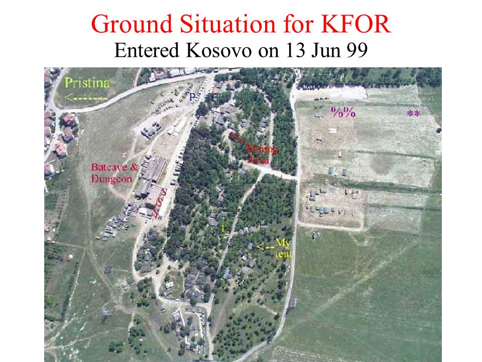 Ground Situation for KFOR Entered Kosovo on 13 Jun 99