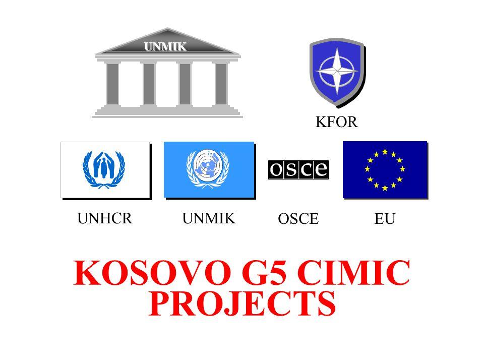 KOSOVO G5 CIMIC PROJECTS KFOR UNMIK EU UNMIKUNHCR OSCE
