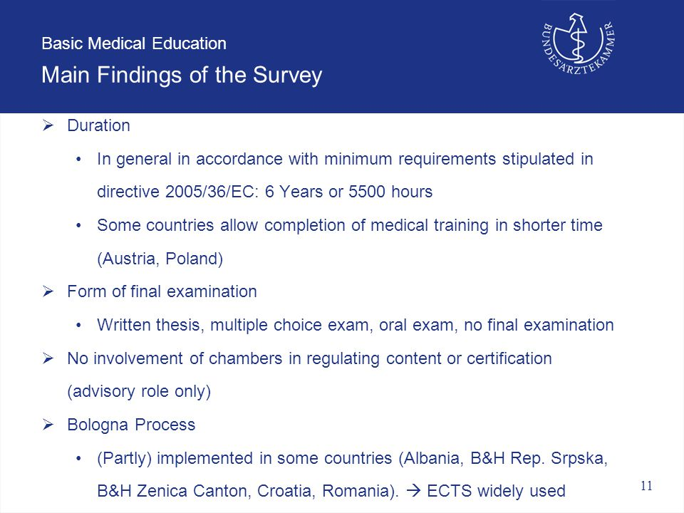 11 Basic Medical Education Main Findings of the Survey  Duration In general in accordance with minimum requirements stipulated in directive 2005/36/EC: 6 Years or 5500 hours Some countries allow completion of medical training in shorter time (Austria, Poland)  Form of final examination Written thesis, multiple choice exam, oral exam, no final examination  No involvement of chambers in regulating content or certification (advisory role only)  Bologna Process (Partly) implemented in some countries (Albania, B&H Rep.