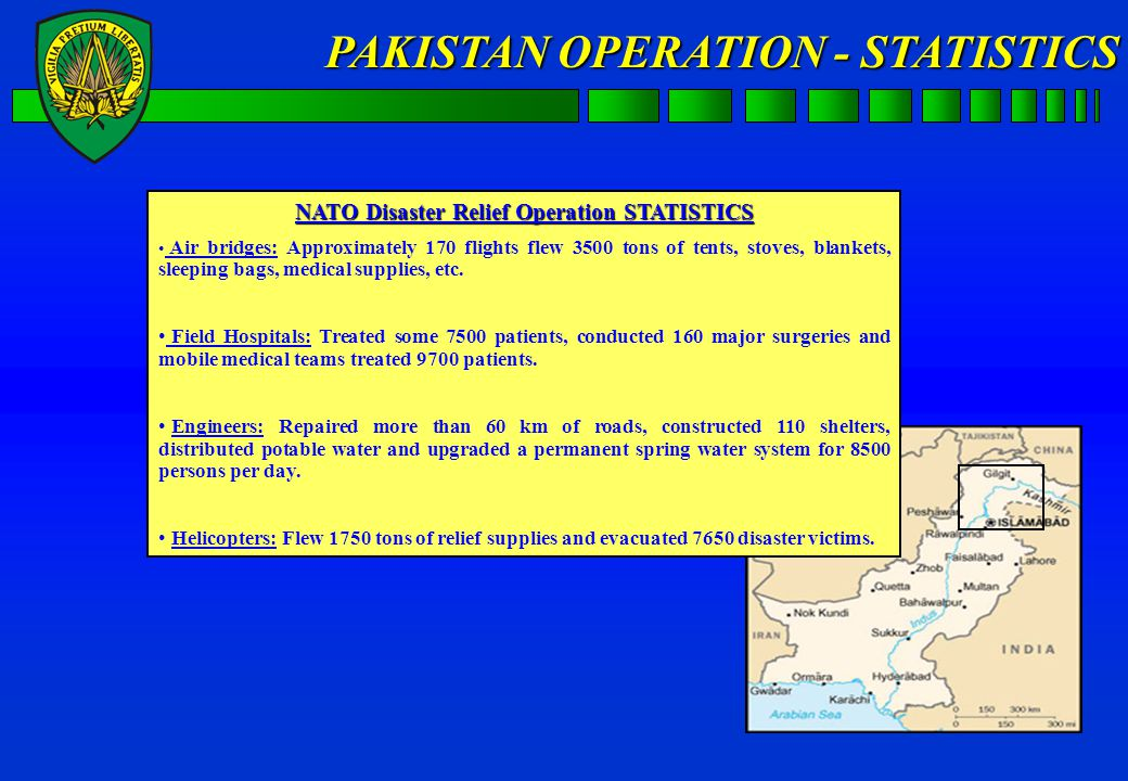 NAC approval Joint Command Lisbon NATO's Euro- Atlantic Disaster Relief Coord Centre (EADRCC) NATO Support to PAKISTAN