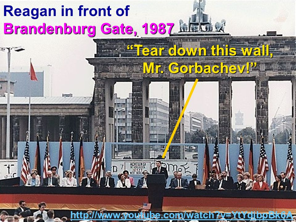 Brandenburg Gate, 1987 Reagan in front of Brandenburg Gate, 1987 Tear down this wall, Mr.