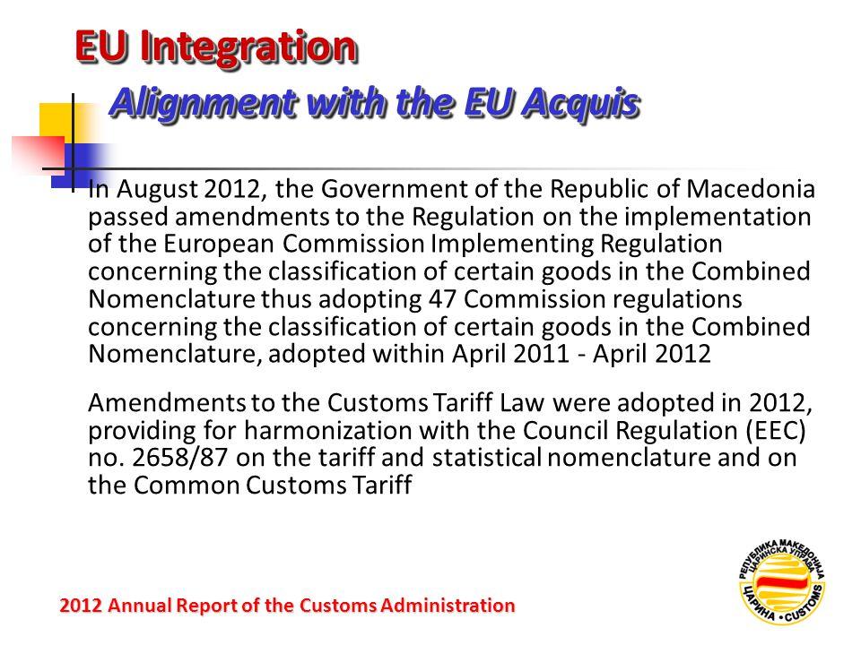 EU Integration Alignment with the EU Acquis 2012 Annual Reportof the Customs Administration 2012 Annual Report of the Customs Administration In August