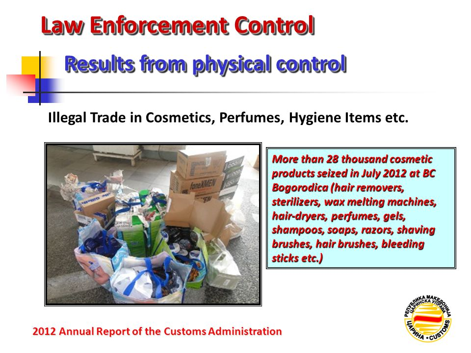 Law Enforcement Control Illegal Trade in Cosmetics, Perfumes, Hygiene Items etc. Results from physical control 2012 Annual Reportof the Customs Admini