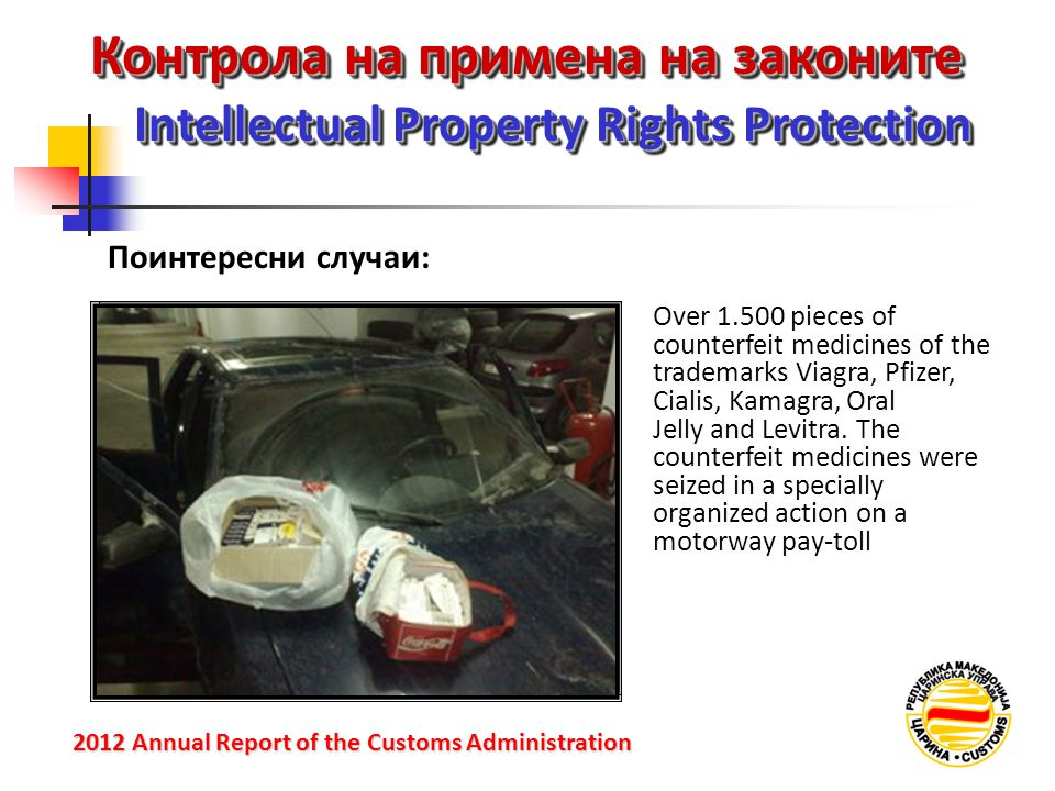 Контрола на примена на законите Intellectual Property Rights Protection 2012 Annual Reportof the Customs Administration 2012 Annual Report of the Customs Administration Over 1.500 pieces of counterfeit medicines of the trademarks Viagra, Pfizer, Cialis, Kamagra, Oral Jelly and Levitra.