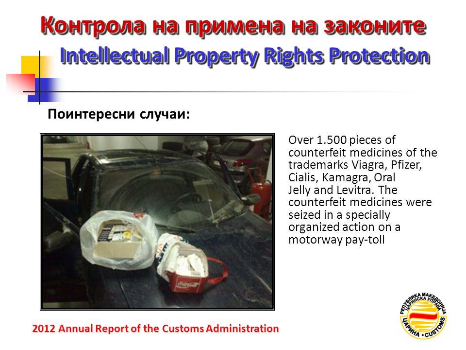 Контрола на примена на законите Intellectual Property Rights Protection 2012 Annual Reportof the Customs Administration 2012 Annual Report of the Cust