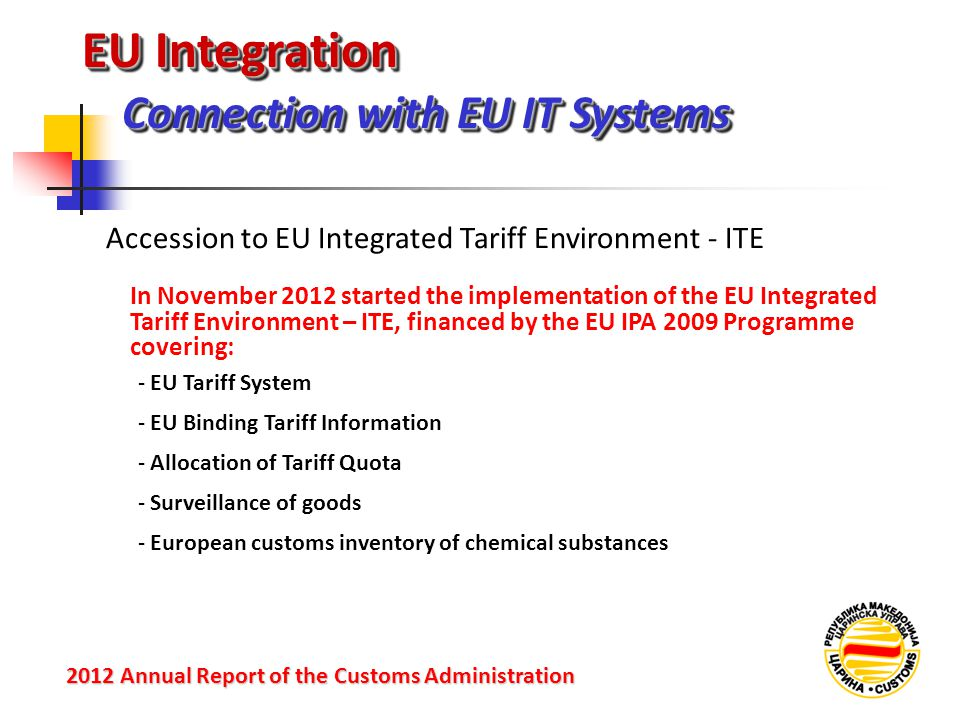 EU Integration Connection with EU IT Systems 2012 Annual Reportof the Customs Administration 2012 Annual Report of the Customs Administration In Novem