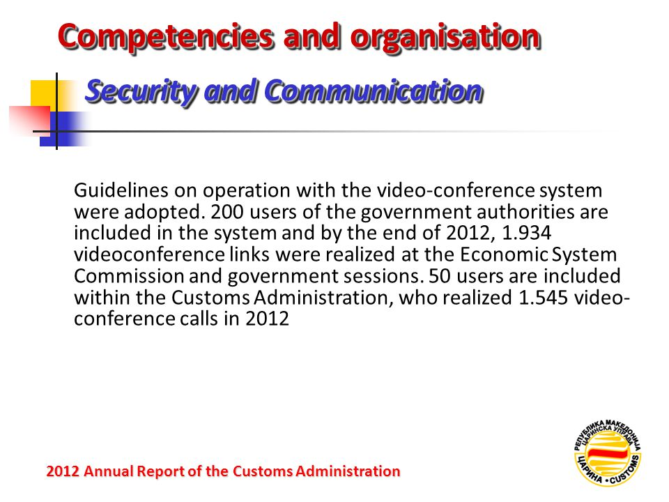 Security and Communication 2012 Annual Reportof the Customs Administration 2012 Annual Report of the Customs Administration Guidelines on operation with the video-conference system were adopted.