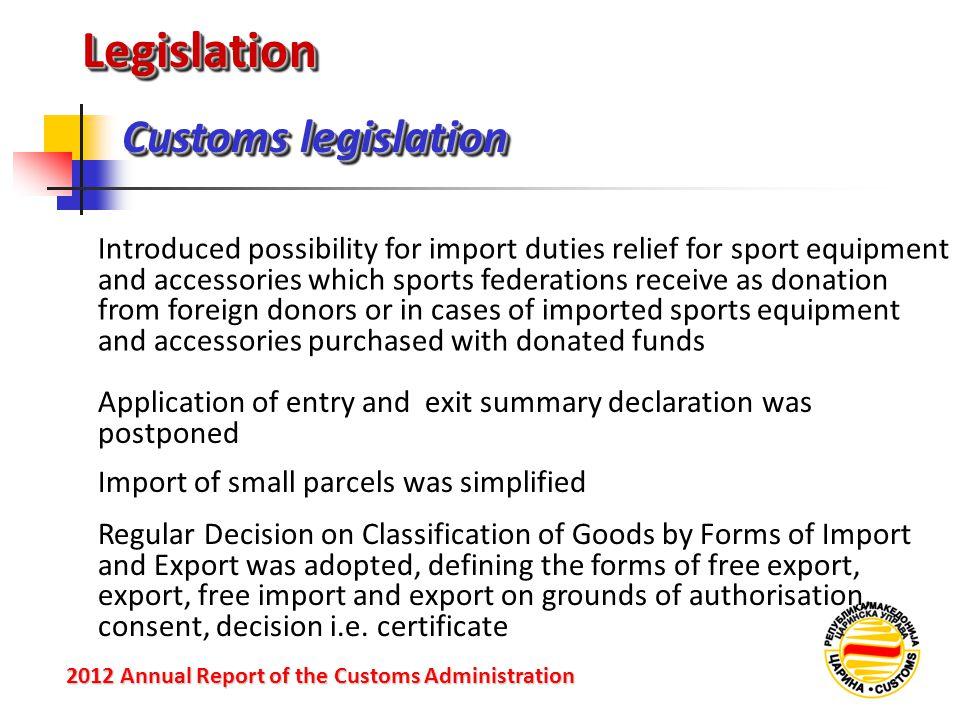 LegislationLegislation Customs legislation 2012 Annual Reportof the Customs Administration 2012 Annual Report of the Customs Administration Introduced