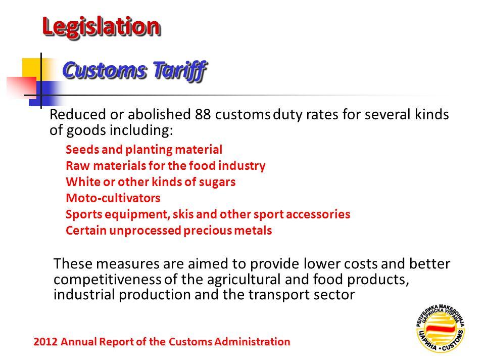 LegislationLegislation Customs Tariff 2012 Annual Reportof the Customs Administration 2012 Annual Report of the Customs Administration Reduced or abol