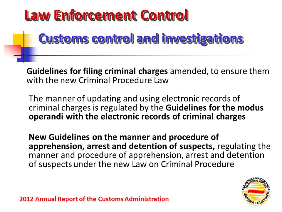 Law Enforcement Control Customs control and investigations 2012 Annual Reportof the Customs Administration 2012 Annual Report of the Customs Administr