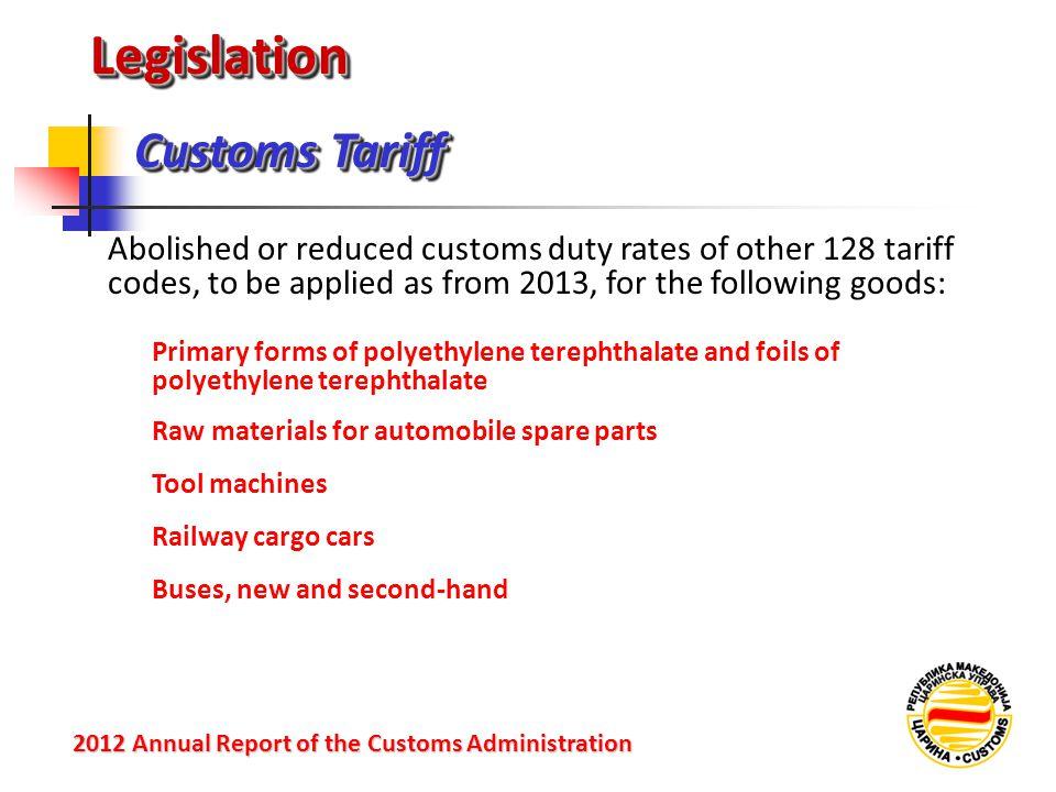 LegislationLegislation Customs Tariff 2012 Annual Reportof the Customs Administration 2012 Annual Report of the Customs Administration Abolished or re