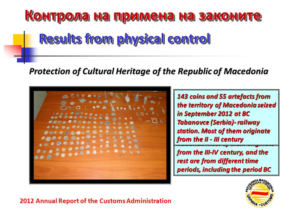 Контрола на примена на законите Protection of Cultural Heritage of the Republic of Macedonia Results from physical control 2012 Annual Reportof the Cu