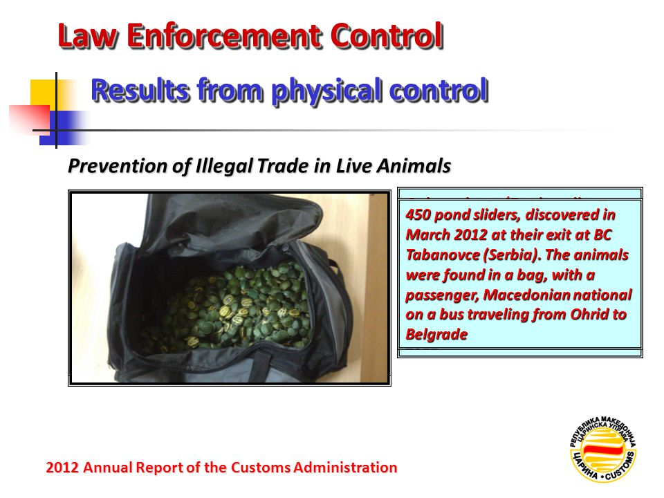Law Enforcement Control Prevention of Illegal Trade in Live Animals Results from physical control 2012 Annual Reportof the Customs Administration 2012 Annual Report of the Customs Administration 4 chameleons (Bradypodion pumilum - Cape dwarf chameleon) protected by CITES - Convention on International Trade in Endangered Species of wild flora and fauna seized at BC Tabanovce (Serbia) in November 2012 450 pond sliders, discovered in March 2012 at their exit at BC Tabanovce (Serbia).