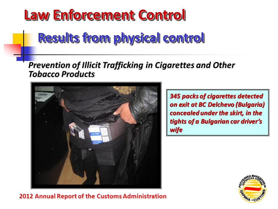 Law Enforcement Control Prevention of Illicit Trafficking in Cigarettes and Other Tobacco Products Results from physical control 2012 Annual Reportof the Customs Administration 2012 Annual Report of the Customs Administration 345 packs of cigarettes detected on exit at BC Delchevo (Bulgaria) concealed under the skirt, in the tights of a Bulgarian car driver's wife
