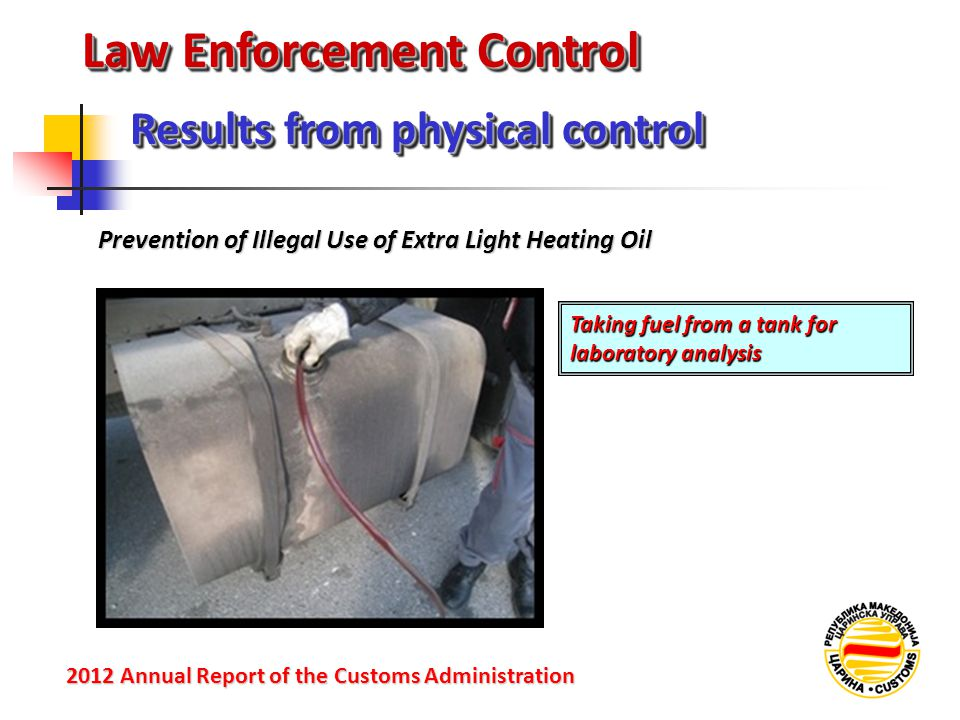 Law Enforcement Control Prevention of Illegal Use of Extra Light Heating Oil Results from physical control 2012 Annual Reportof the Customs Administration 2012 Annual Report of the Customs Administration Taking fuel from a tank for laboratory analysis