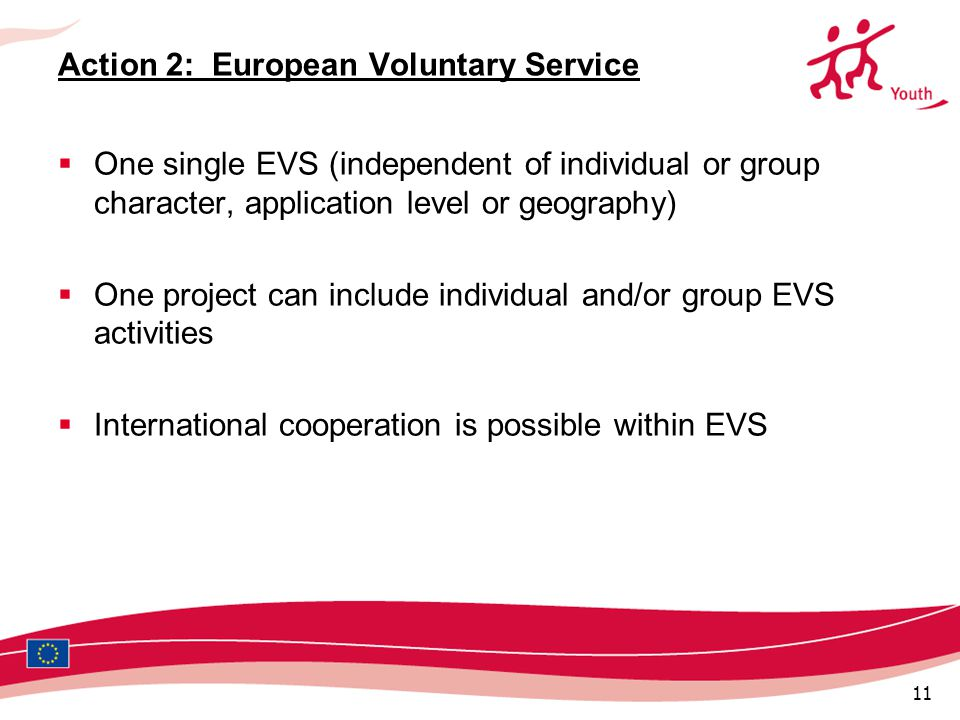 11 Action 2: European Voluntary Service  One single EVS (independent of individual or group character, application level or geography)  One project can include individual and/or group EVS activities  International cooperation is possible within EVS