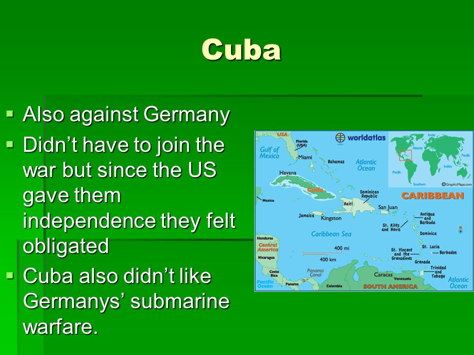 Cuba  Also against Germany  Didn't have to join the war but since the US gave them independence they felt obligated  Cuba also didn't like Germanys' submarine warfare.