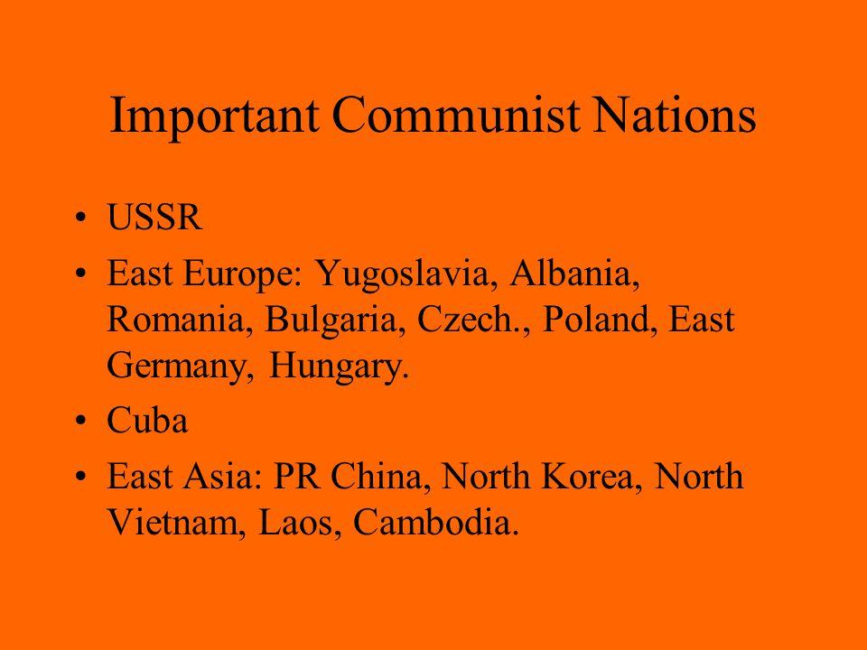 Important Communist Nations USSR East Europe: Yugoslavia, Albania, Romania, Bulgaria, Czech., Poland, East Germany, Hungary.