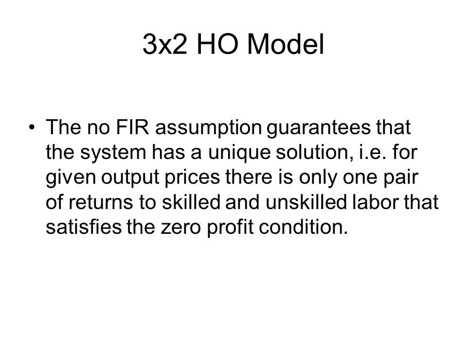 3x2 HO Model The no FIR assumption guarantees that the system has a unique solution, i.e.