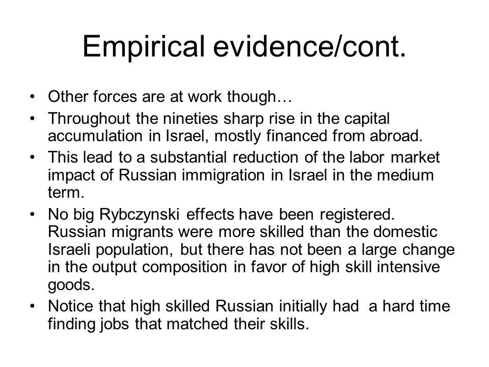 Empirical evidence/cont.
