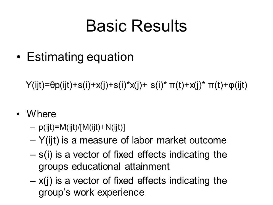 Basic Results Estimating equation Y(ijt)=θp(ijt)+s(i)+x(j)+s(i)*x(j)+ s(i)* π(t)+x(j)* π(t)+φ(ijt) Where –p(ijt)=M(ijt)/[M(ijt)+N(ijt)] –Y(ijt) is a m