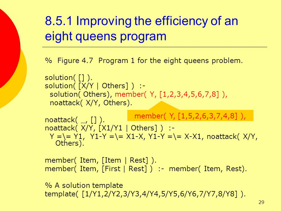 29 8.5.1 Improving the efficiency of an eight queens program % Figure 4.7 Program 1 for the eight queens problem.