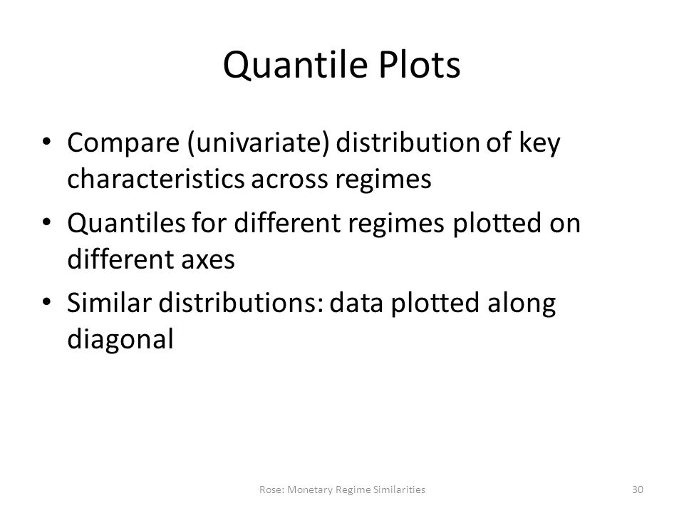 Quantile Plots Compare (univariate) distribution of key characteristics across regimes Quantiles for different regimes plotted on different axes Similar distributions: data plotted along diagonal Rose: Monetary Regime Similarities30