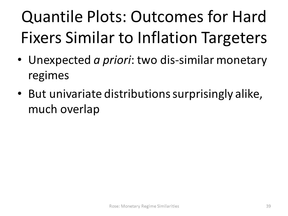 Quantile Plots: Outcomes for Hard Fixers Similar to Inflation Targeters Unexpected a priori: two dis-similar monetary regimes But univariate distributions surprisingly alike, much overlap Rose: Monetary Regime Similarities39