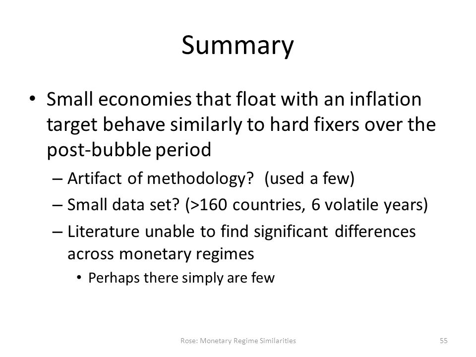 Summary Small economies that float with an inflation target behave similarly to hard fixers over the post-bubble period – Artifact of methodology.