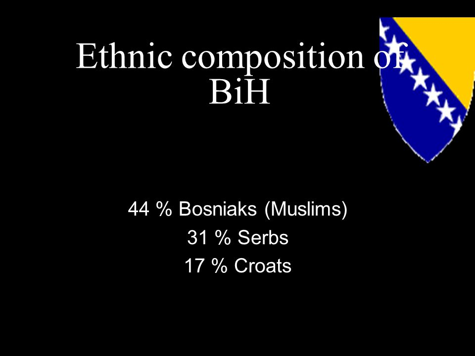 Ethnic composition of BiH 44 % Bosniaks (Muslims) 31 % Serbs 17 % Croats