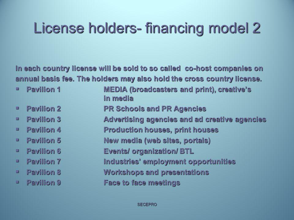 License holders- financing model 2 In each country license will be sold to so called co-host companies on annual basis fee.