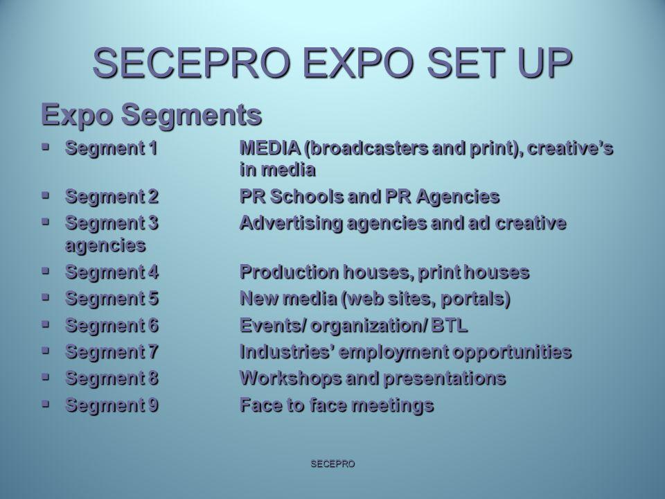 SECEPRO EXPO SET UP Expo Segments  Segment 1 MEDIA (broadcasters and print), creative's in media  Segment 2 PR Schools and PR Agencies  Segment 3 A
