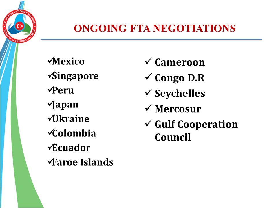 ONGOING FTA NEGOTIATIONS Mexico Singapore Peru Japan Ukraine Colombia Ecuador Faroe Islands Cameroon Congo D.R Seychelles Mercosur Gulf Cooperation Co