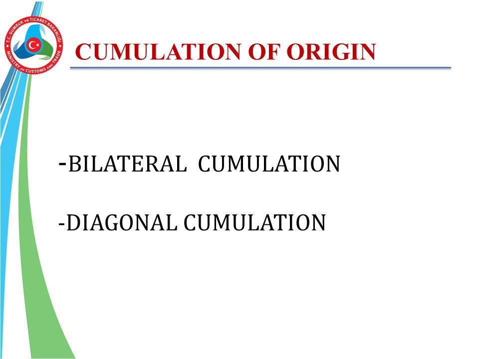 CUMULATION OF ORIGIN - BILATERAL CUMULATION -DIAGONAL CUMULATION