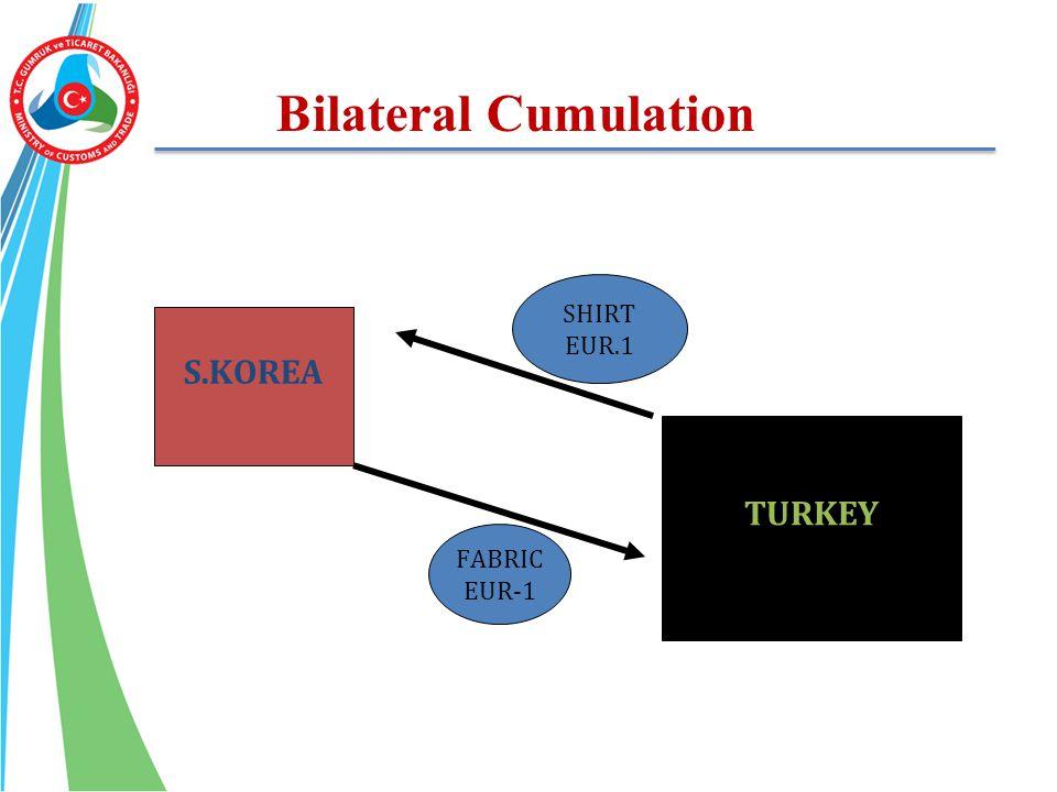 Bilateral Cumulation S.KOREA TURKEY FABRIC EUR-1 SHIRT EUR.1