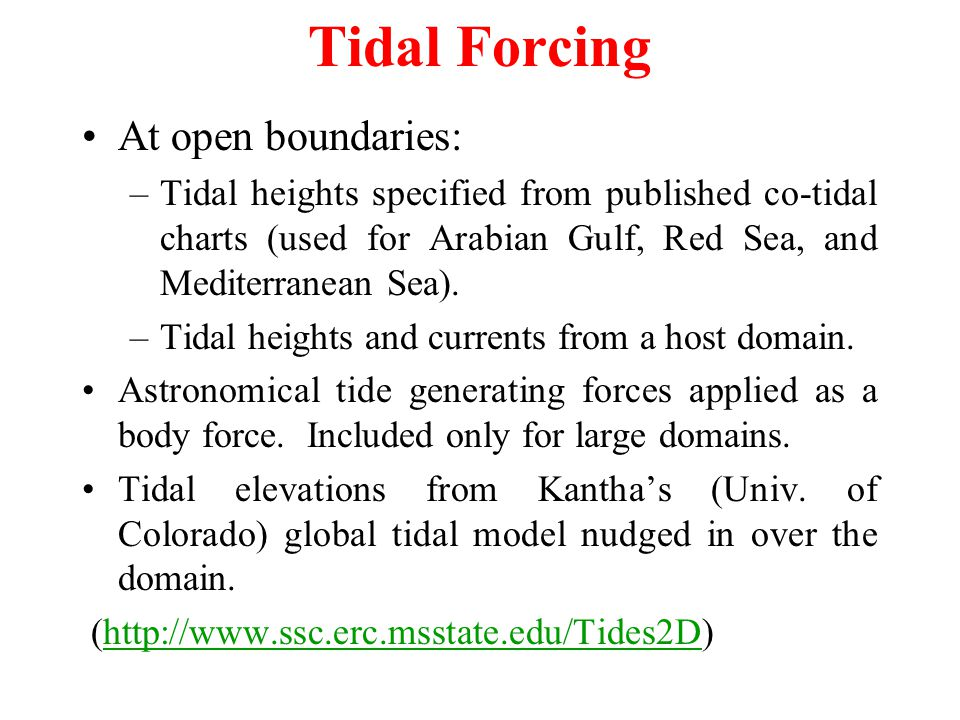 Tidal Forcing At open boundaries: –Tidal heights specified from published co-tidal charts (used for Arabian Gulf, Red Sea, and Mediterranean Sea).
