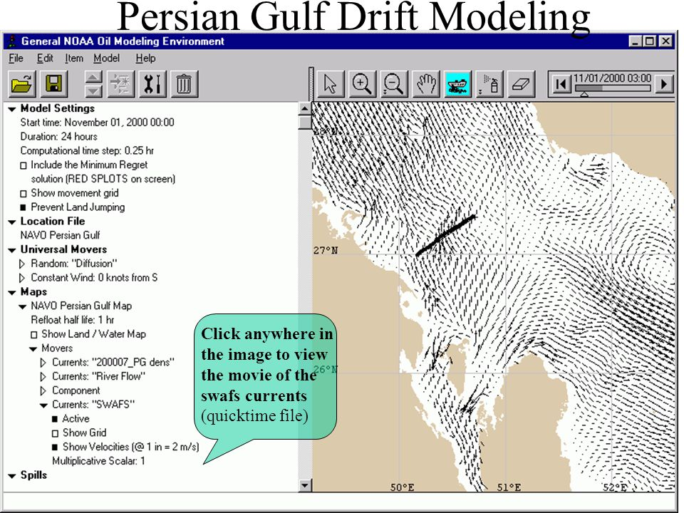 Persian Gulf Drift Modeling Click anywhere in the image to view the movie of the swafs currents (quicktime file)
