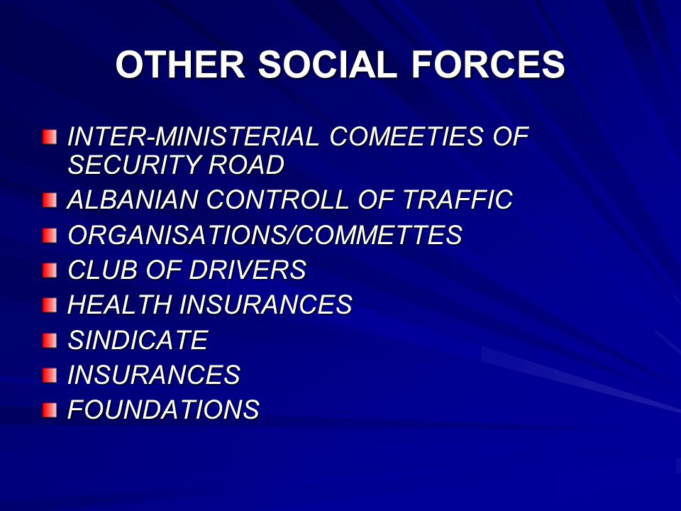 OTHER SOCIAL FORCES INTER-MINISTERIAL COMEETIES OF SECURITY ROAD ALBANIAN CONTROLL OF TRAFFIC ORGANISATIONS/COMMETTES CLUB OF DRIVERS HEALTH INSURANCE