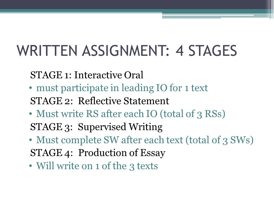 WRITTEN ASSIGNMENT: 4 STAGES STAGE 1: Interactive Oral must participate in leading IO for 1 text STAGE 2: Reflective Statement Must write RS after eac
